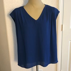 Cobalt blue over size high low flowy top